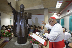 Cardinal Wilfrid Napier OFM Archbishop of Durban, prays for the new Denis Hurley Centre, alongside the statue of the Archbishop Denis Hurley